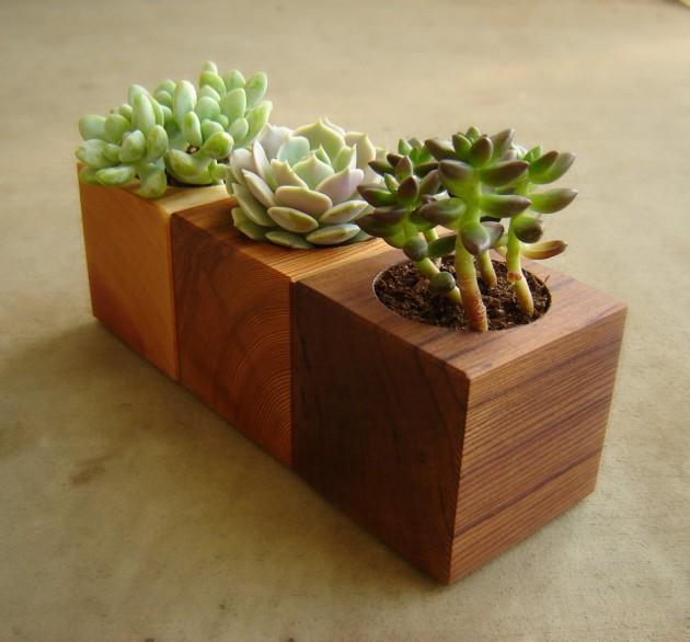 16 Minimalistic Handmade Wooden Planter Designs (15)