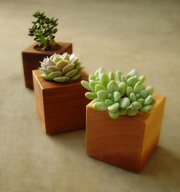 16 Minimalistic Handmade Wooden Planter Designs