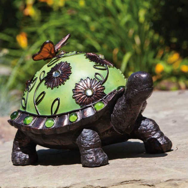 Jeweled Garden Walking Turtle Statue