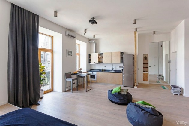 Functional 58 Sqm Open Studio Apartment in Kiev, Ukraine