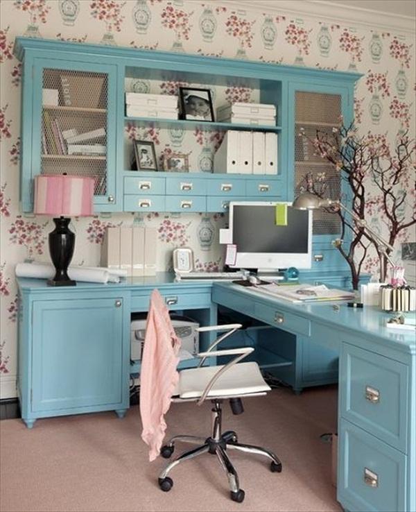 New Home Interior Colors: 24 Fancy & Fabulous Feminine Office Design Ideas