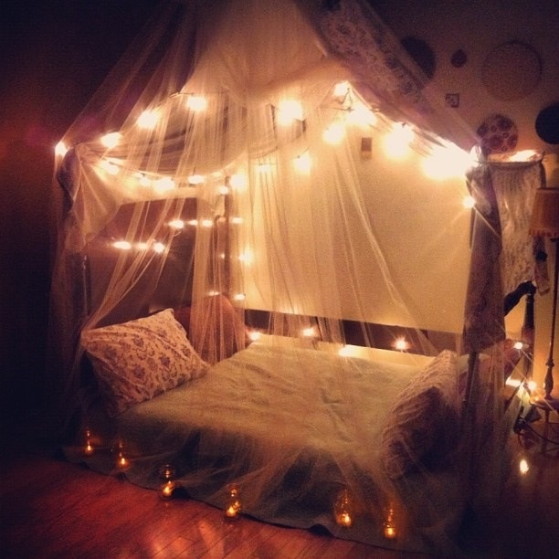 Curtains Ideas curtain lights for bedroom : Amazing Canopies with String Lights Ideas