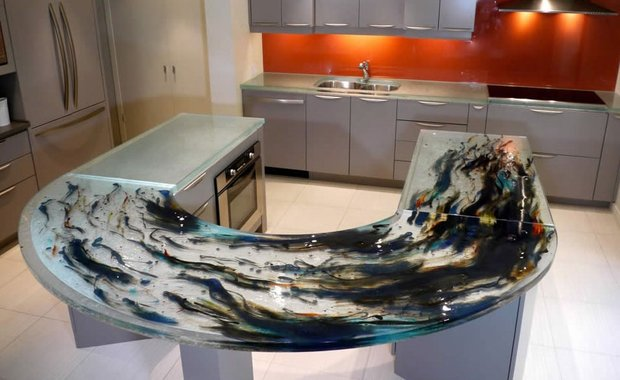 19 Adorable & Stylish Glass Kitchen Countertop Design Ideas