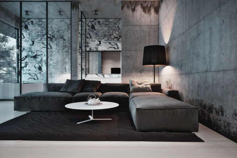 23 glamorous interior designs with concrete walls for Home interior design photo gallery