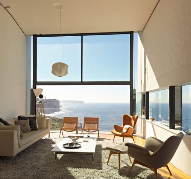 Holman house in sydney australia - Glass block windows in living room ...