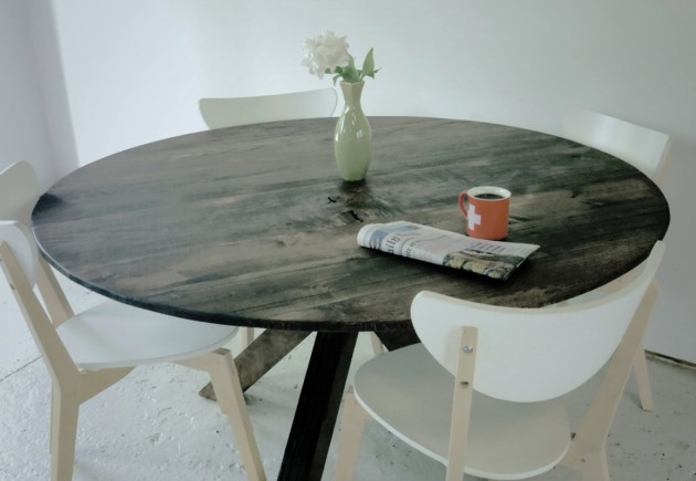 Round Reclaimed Wood Dining Table. Rustic Reclaimed Wood DIY Projects