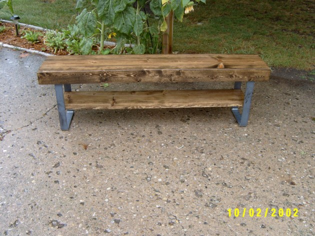 reclaimed industrial wood and steel bench coffee table with raw steel ...