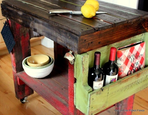 Kitchen Island Out Of Pallets rustic diy kitchen island ideas