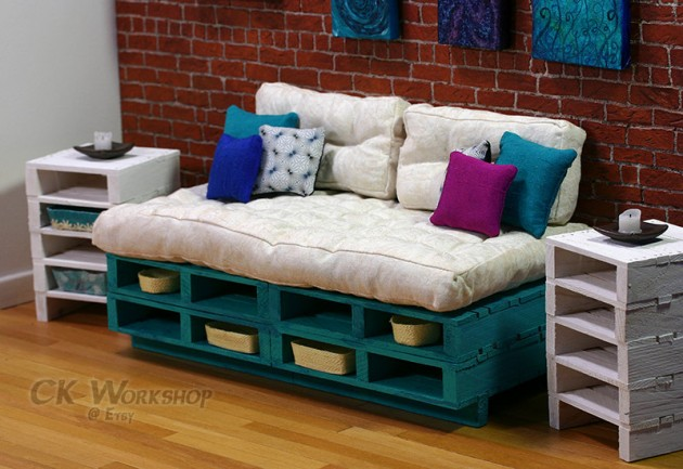 Turquoise Couch Wood pallet furniture