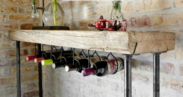 Industrial Reclaimed Wood Console Table with Wine bar - Unique Handmade Wine Rack Designs