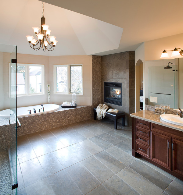 19 Astonishing & Cozy Bathrooms Design Ideas With Fireplace