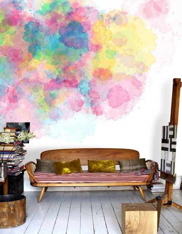 The coolest 25 watercolor wall designs for Wall painting ideas tumblr