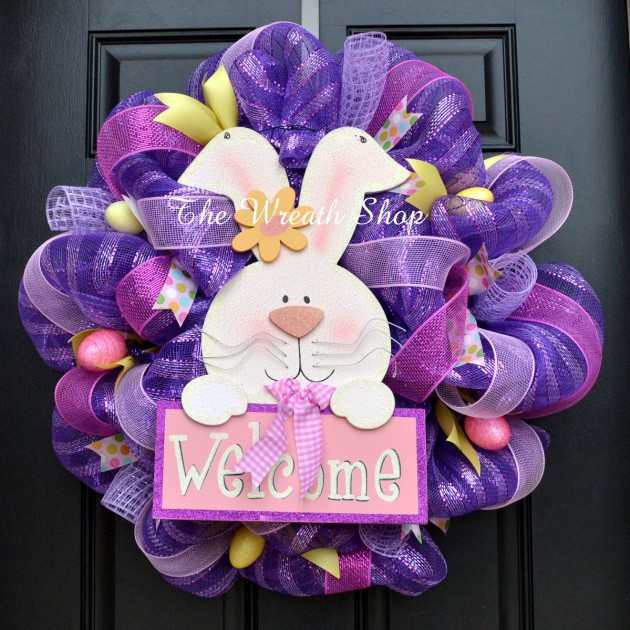 Purple Easter Wreath With Bunny
