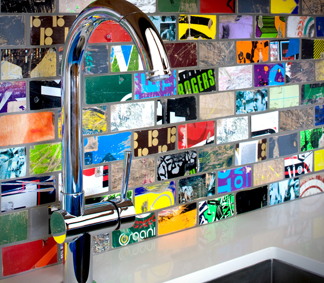 Fun Backsplash Ideas Part - 17: Instead Of Throwing Away Your Old Skateboards, Use Them To Create A  Recycled Mosaic SK8 Tile Backsplash