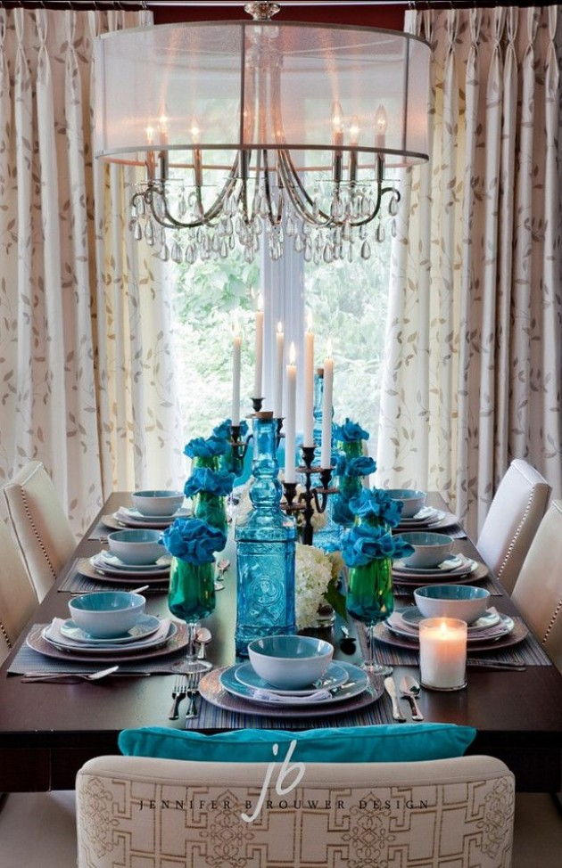 25 glamorous turquoise interior designs for Teal dining room table