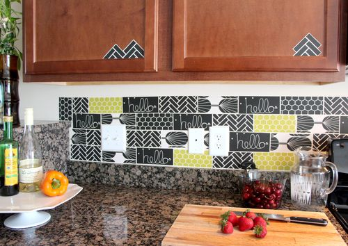 Buy decals and apply them on your kitchen backsplash