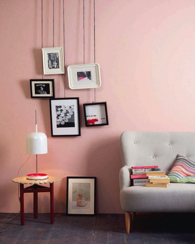 27 fabulous pastel pink interior designs for Decorar salon con cuadros grandes