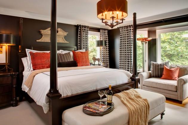 17 Dramatic Bedroom Designs with Dark Walls