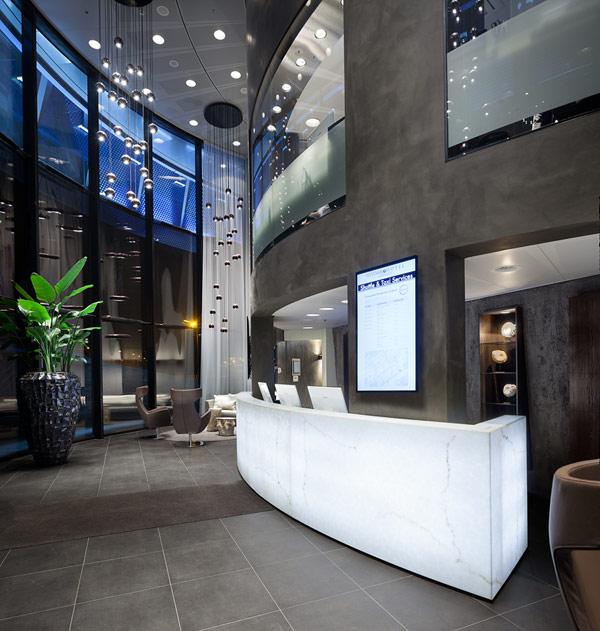 awesome futuristic interior design in circular hotel fletcher hotel in amsterdam. Black Bedroom Furniture Sets. Home Design Ideas
