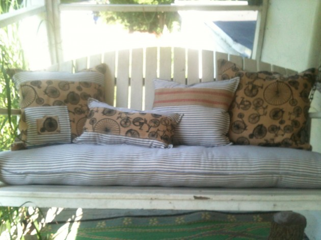 Burlap & Ticking Custom Porch Swing or Bench Cushion with four Pillows - Outstanding Handmade Porch Swing Designs