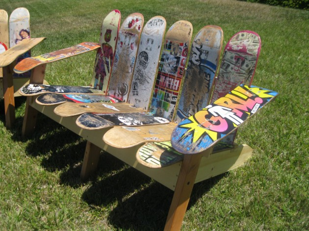 how to make a bench out of skateboards