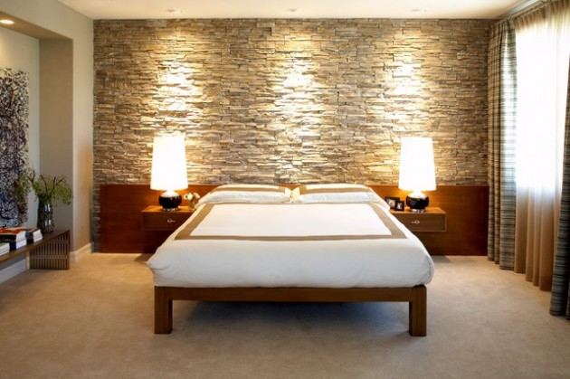19 Elegant Stone Wall Bedroom Design Ideas