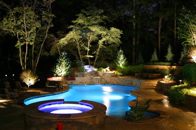 waterfall lighting rocky patio professional hz landscape night lights kichler outdoor