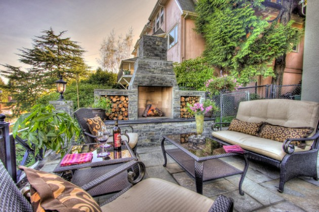 Outdoor Contemporary Fireplace
