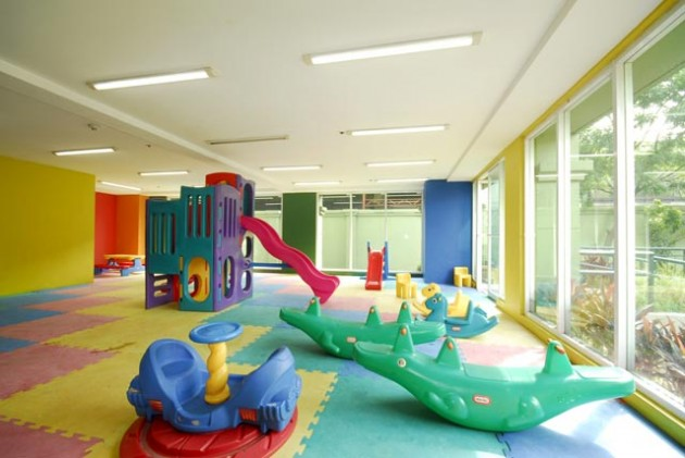 Amazing Indoor Playroom Bright Room Interior Unique Crocodile Seesaw
