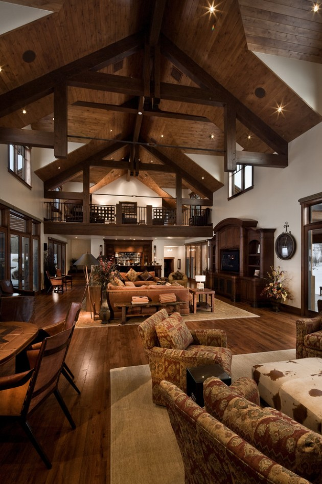 15 warm rustic family room designs for the winter for House plans with large kitchen and family room