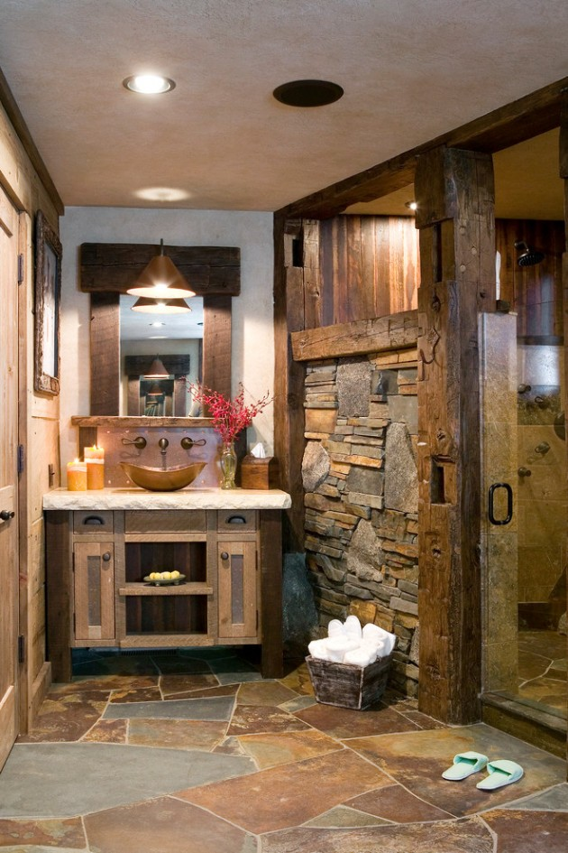 16 homely rustic bathroom ideas to warm you up this winter for Warm bathroom