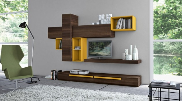Fascinating Wall Storage Items for Your Contemporary Living Room