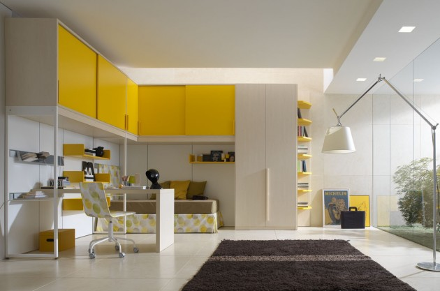 Yellow teen bedroom design