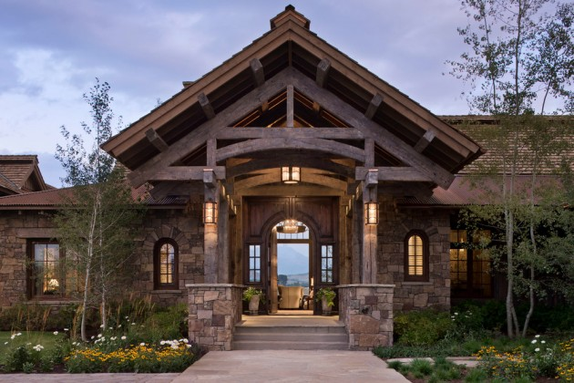 15 inviting rustic entry designs for this winter for Western style houses