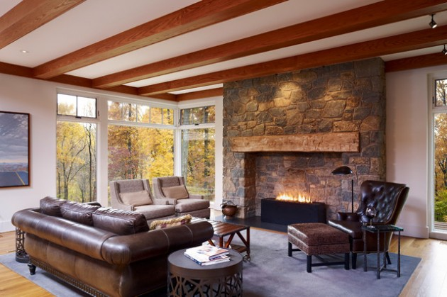 17 Likable Amp Cozy Rustic Living Room Designs With Fireplace