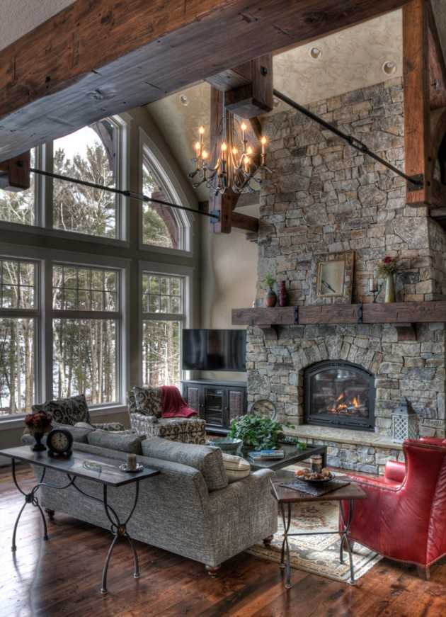 15 warm cozy rustic living room designs for a cozy winter for Living room ideas rustic