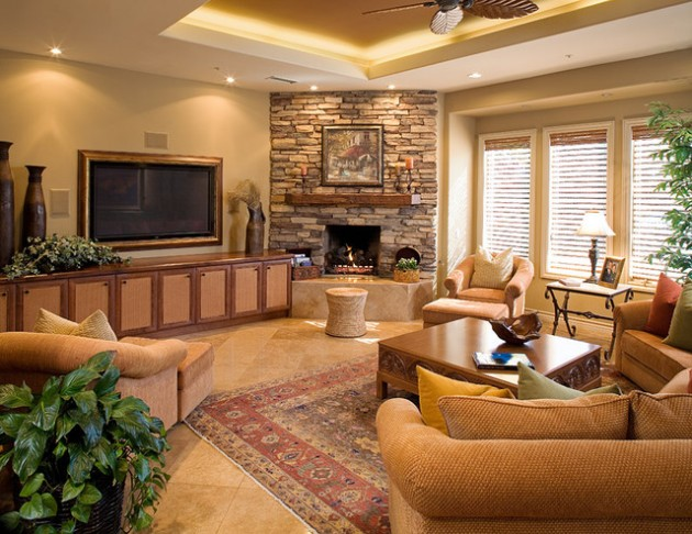 17 ravishing living room designs with corner fireplace Family room design ideas with fireplace