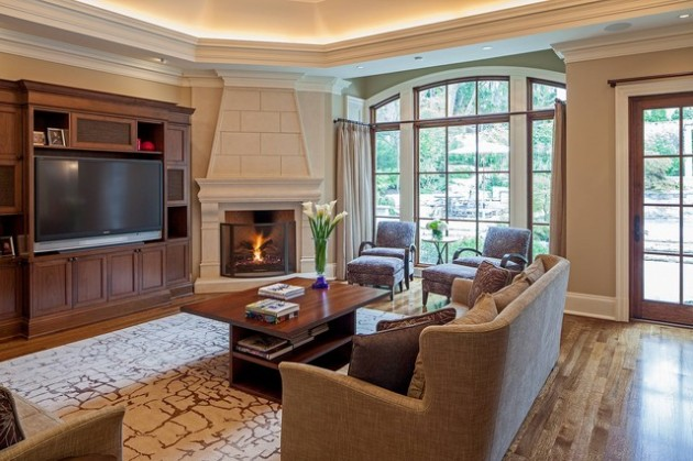 Ravishing Living Room Designs With Corner Fireplace