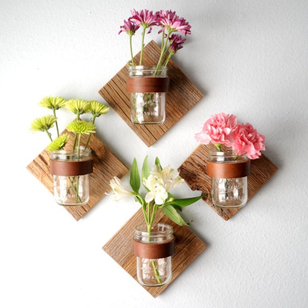 Awesome Mason Jar DIY Project Mason Jar Sconces With Fresh Flowers