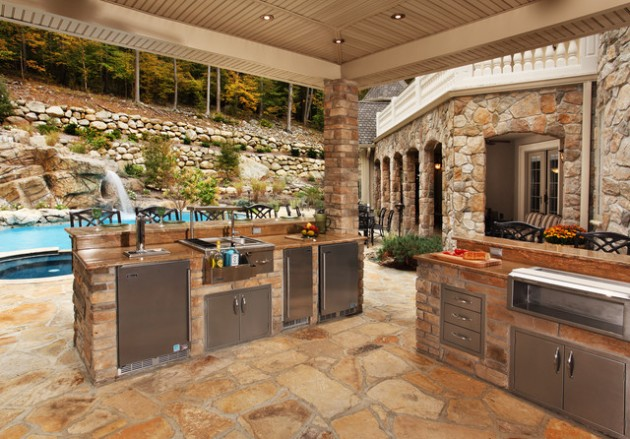 14 fascinating outdoor luxury kitchen design ideas for Backyard kitchen design ideas