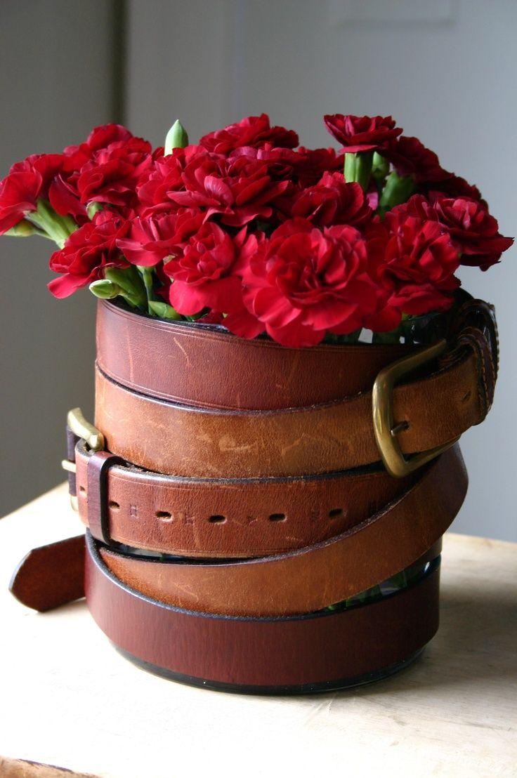 Цветы из кожи в вазу своими руками