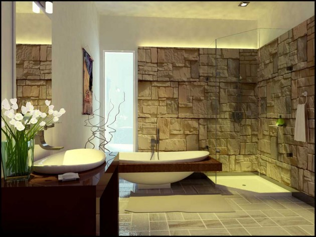 16 Pleasant Stone Batrhoom Designs For Your Private Haven