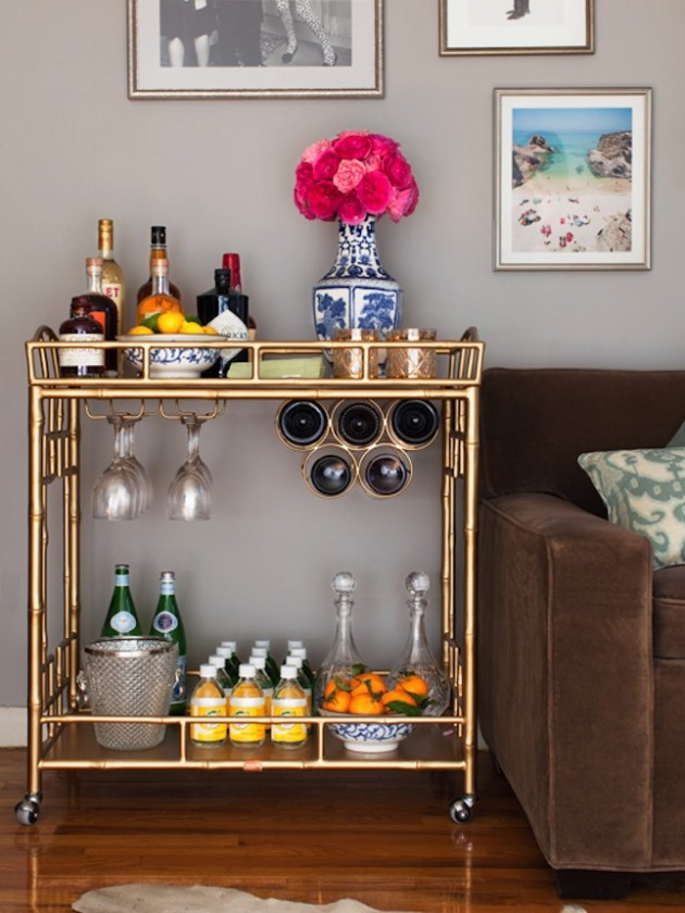 Superb 15 Delightful Comact Bar Cart Design Ideas For Small Spaces
