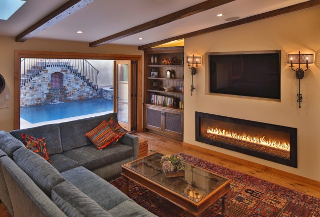 Family Room Design With Fireplace Layout