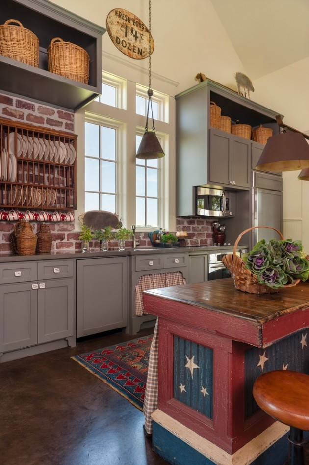 15 Lovely Farmhouse Kitchen Interior Designs To Fall In ... on Rustic:fkvt0Ptafus= Farmhouse Kitchen  id=71629