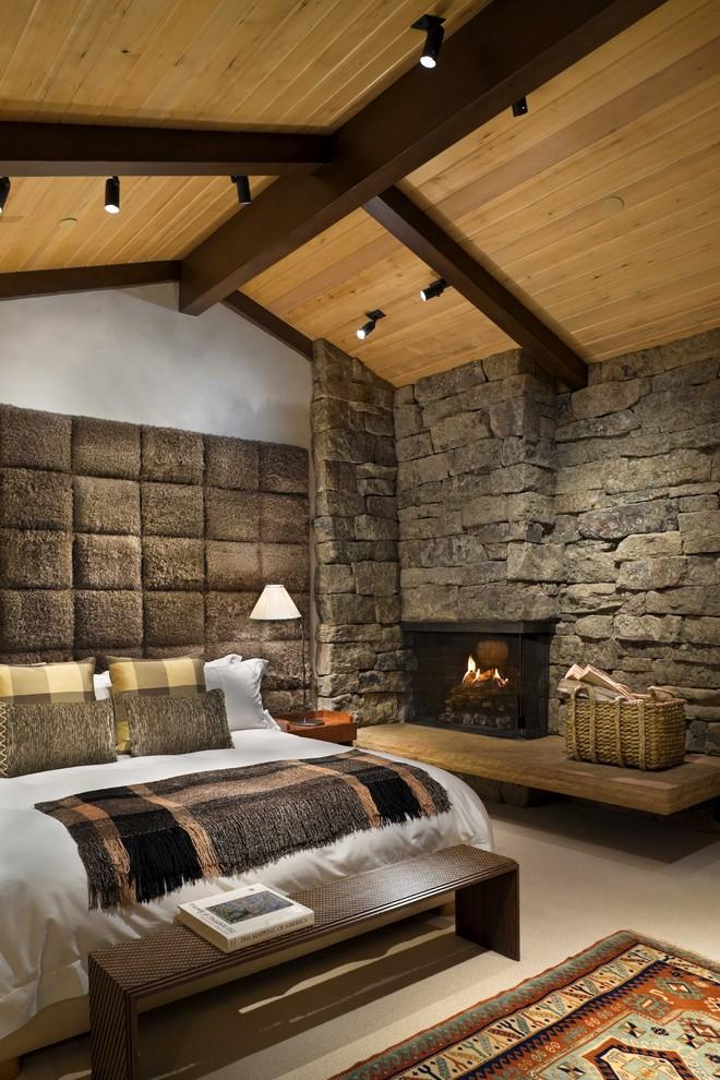 Спальня дизайн дерево камень