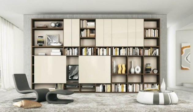 15 Fascinating Modern Living Room, Modern Living Room Shelves