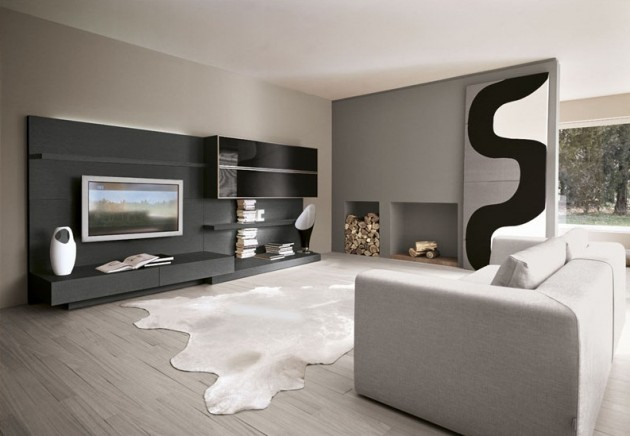 Black Television Cabinets Grey Wooden Floor Grey Carpet Greay Sofa Lined and Curved Painting Black and White Interior Design Living Room