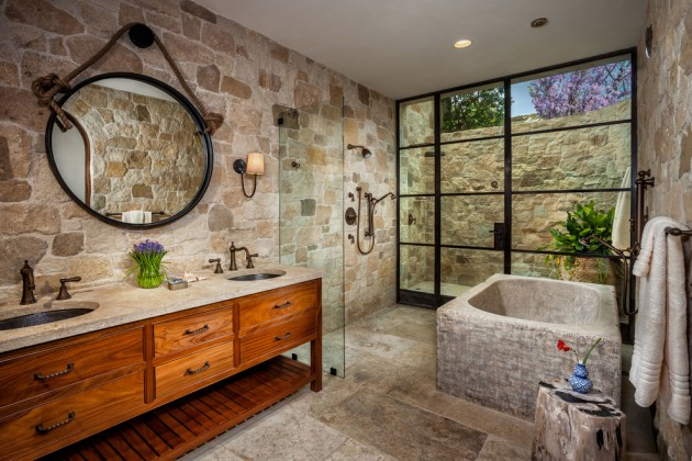 15 elegant mediterranean bathroom designs that define the word luxury for Chambre de bain rustique