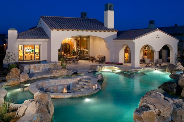 20 sophisticated outdoor fire pit designs near the for Pool with fireplace